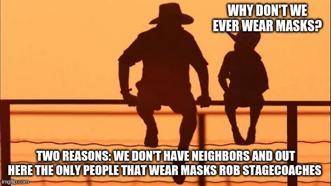 Cowboy Wisdom on wearing masks |  WHY DON'T WE EVER WEAR MASKS? TWO REASONS: WE DON'T HAVE NEIGHBORS AND OUT HERE THE ONLY PEOPLE THAT WEAR MASKS ROB STAGECOACHES | image tagged in cowboy father and son,we do not need masks,cowboy wisdom,protect stagecoaches,raccons wear masks,you wear one for me | made w/ Imgflip meme maker