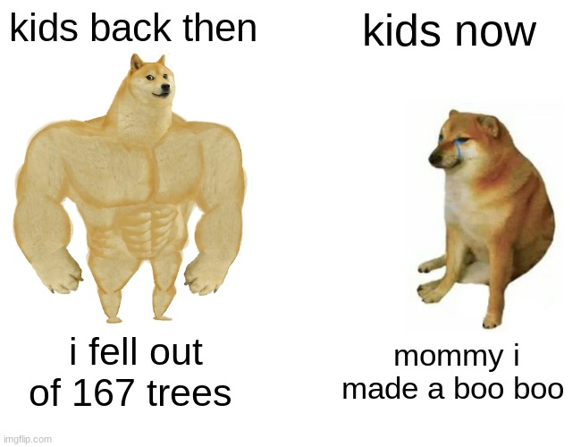 Buff Doge vs. Cheems Meme |  kids back then; kids now; i fell out of 167 trees; mommy i made a boo boo | image tagged in memes,buff doge vs cheems | made w/ Imgflip meme maker