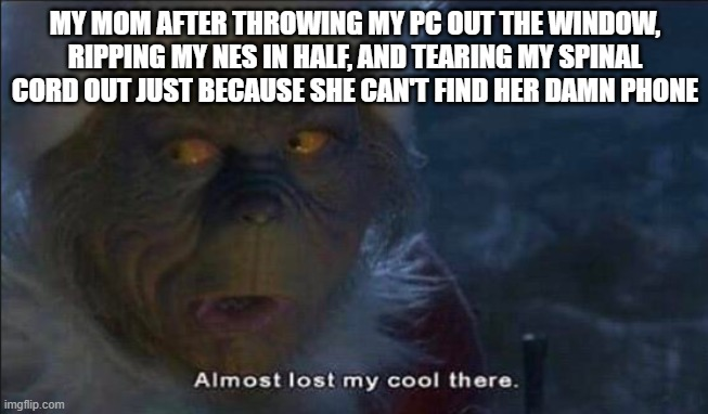 Almost Lost My Cool There |  MY MOM AFTER THROWING MY PC OUT THE WINDOW, RIPPING MY NES IN HALF, AND TEARING MY SPINAL CORD OUT JUST BECAUSE SHE CAN'T FIND HER DAMN PHONE | image tagged in almost lost my cool there | made w/ Imgflip meme maker
