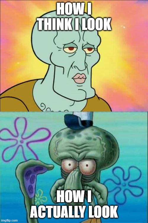 Squidward Meme |  HOW I THINK I LOOK; HOW I ACTUALLY LOOK | image tagged in memes,squidward | made w/ Imgflip meme maker