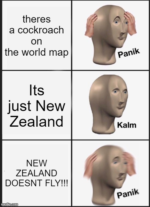 Panik Kalm Panik Meme |  theres a cockroach on the world map; Its just New Zealand; NEW ZEALAND DOESNT FLY!!! | image tagged in memes,panik kalm panik | made w/ Imgflip meme maker