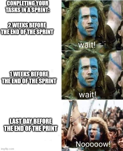 agile sprint |  CONPLETING YOUR TASKS IN A SPRINT:; 2 WEEKS BEFORE THE END OF THE SPRINT; 1 WEEKS BEFORE THE END OF THE SPRINT; LAST DAY BEFORE THE END OF THE PRINT | image tagged in late | made w/ Imgflip meme maker