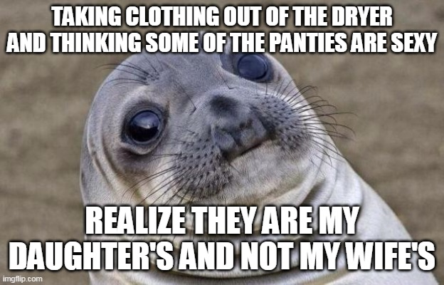 Awkward Moment Sealion Meme |  TAKING CLOTHING OUT OF THE DRYER AND THINKING SOME OF THE PANTIES ARE SEXY; REALIZE THEY ARE MY DAUGHTER'S AND NOT MY WIFE'S | image tagged in memes,awkward moment sealion,AdviceAnimals | made w/ Imgflip meme maker