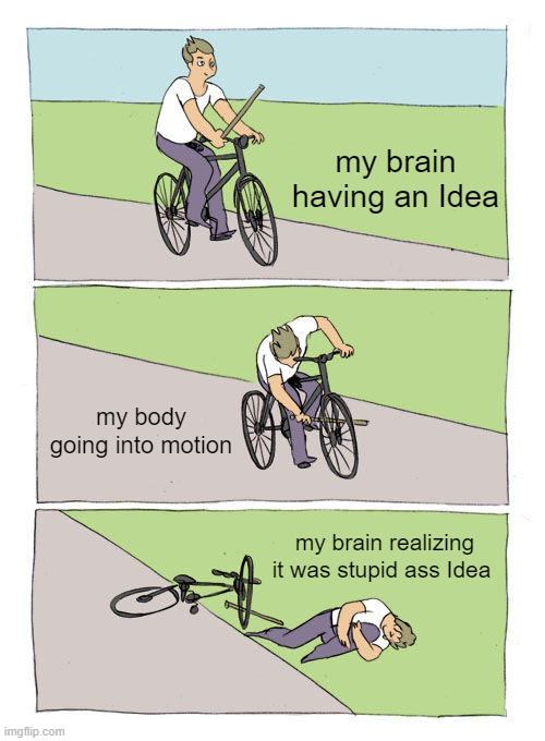 Bike Fall Meme |  my brain having an Idea; my body going into motion; my brain realizing it was stupid ass Idea | image tagged in memes,bike fall | made w/ Imgflip meme maker
