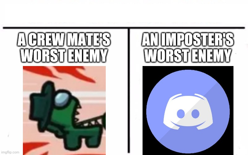 Discord |  A CREW MATE'S WORST ENEMY; AN IMPOSTER'S WORST ENEMY | image tagged in memes,who would win,discord,among us | made w/ Imgflip meme maker