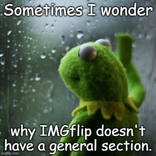 I wonder why... |  Sometimes I wonder; why IMGflip doesn't have a general section. | image tagged in sometimes i wonder | made w/ Imgflip meme maker