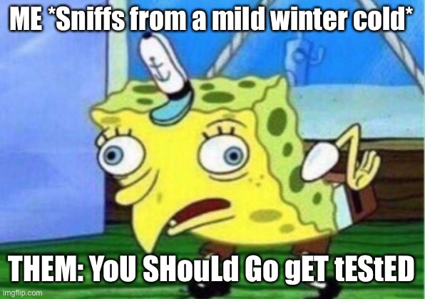 Winter cold COVID-19 |  ME *Sniffs from a mild winter cold*; THEM: YoU SHouLd Go gET tEStED | image tagged in memes,mocking spongebob | made w/ Imgflip meme maker