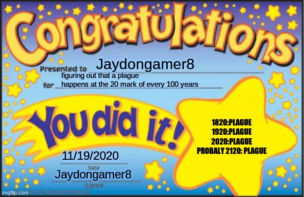 Congrats! |  Jaydongamer8; figuring out that a plague happens at the 20 mark of every 100 years; 1820:PLAGUE 1920:PLAGUE 2020:PLAGUE PROBALY 2120: PLAGUE; 11/19/2020; Jaydongamer8 | image tagged in memes,happy star congratulations | made w/ Imgflip meme maker