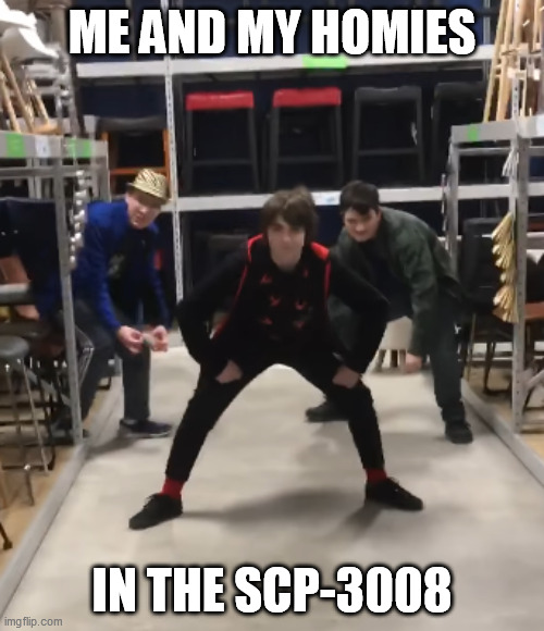 Me and my homies |  ME AND MY HOMIES; IN THE SCP-3008 | image tagged in meme,scp-3008 | made w/ Imgflip meme maker