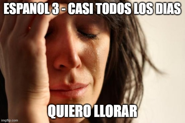 Spanish 3 class  - I want to cry |  ESPANOL 3 - CASI TODOS LOS DIAS; QUIERO LLORAR | image tagged in memes,first world problems | made w/ Imgflip meme maker