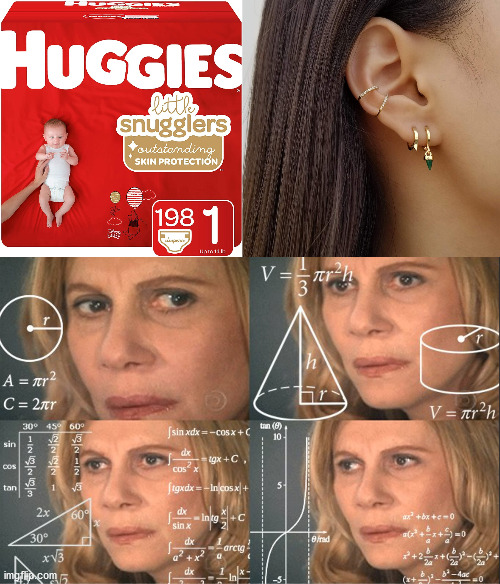 They're Both Called Huggies | image tagged in math lady/confused lady,confused math lady,huggies,diapers,earing,earings | made w/ Imgflip meme maker