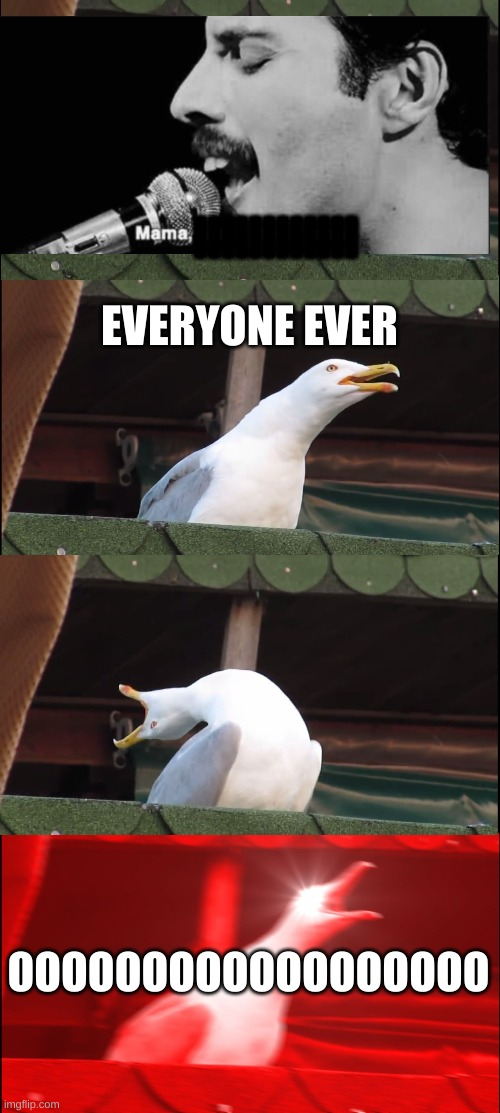 Freddy Mercury |  llllllllllll; EVERYONE EVER; OOOOOOOOOOOOOOOOOO | image tagged in memes,inhaling seagull | made w/ Imgflip meme maker
