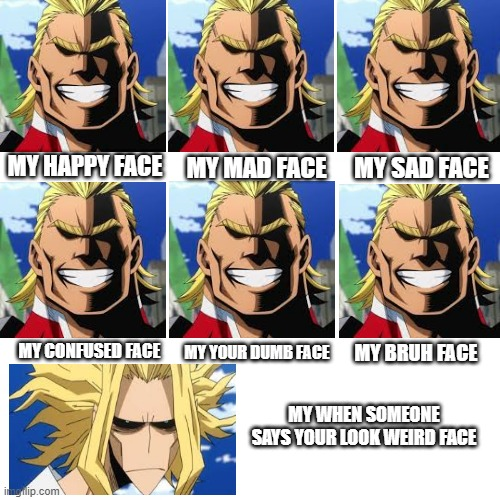 I meeeeeeeeeeeeeeeeeeeean |  MY SAD FACE; MY MAD FACE; MY HAPPY FACE; MY YOUR DUMB FACE; MY CONFUSED FACE; MY BRUH FACE; MY WHEN SOMEONE SAYS YOUR LOOK WEIRD FACE | image tagged in all might | made w/ Imgflip meme maker