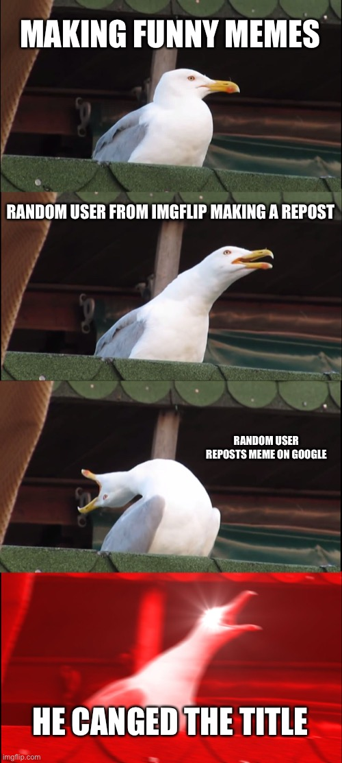 BEKFAST |  MAKING FUNNY MEMES; RANDOM USER FROM IMGFLIP MAKING A REPOST; RANDOM USER REPOSTS MEME ON GOOGLE; HE CANGED THE TITLE | image tagged in memes,inhaling seagull | made w/ Imgflip meme maker