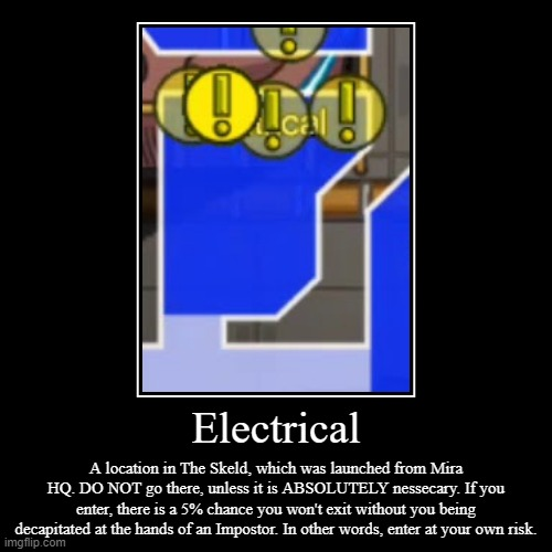 Important Message. | Electrical | A location in The Skeld, which was launched from Mira HQ. DO NOT go there, unless it is ABSOLUTELY nessecary. If you enter, the | image tagged in funny,demotivationals,among us,electrical | made w/ Imgflip demotivational maker