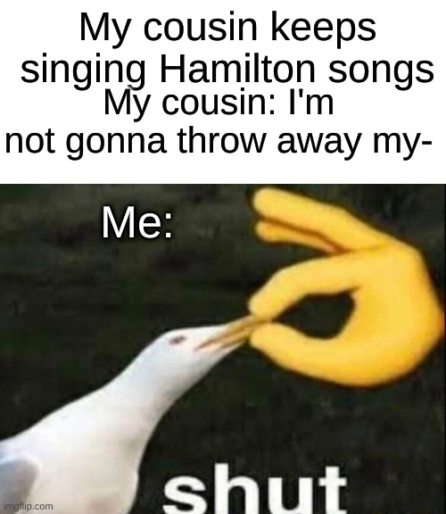 Comment or upvote if you see what I did |  My cousin keeps singing Hamilton songs; My cousin: I'm not gonna throw away my-; Me: | image tagged in blank white template,shut,hamilton | made w/ Imgflip meme maker