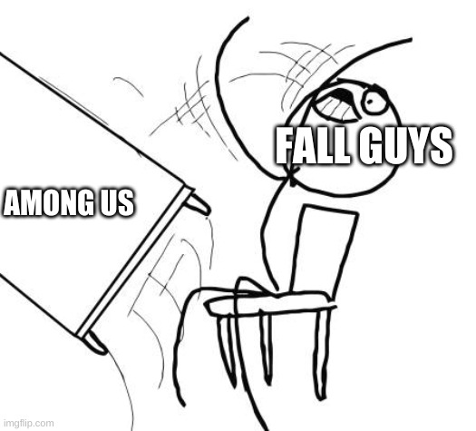 Table Flip Guy |  FALL GUYS; AMONG US | image tagged in memes,table flip guy | made w/ Imgflip meme maker