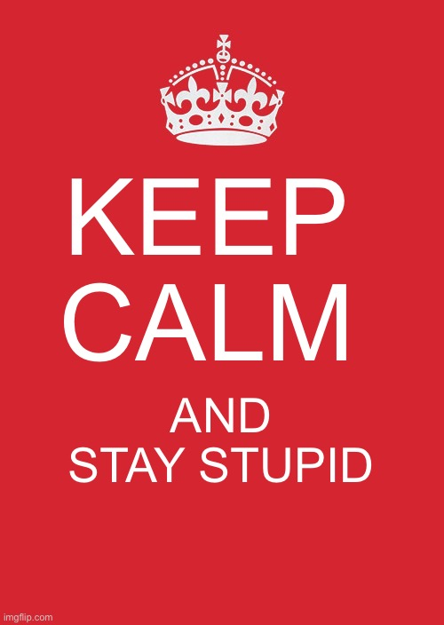 Keep Calm And Carry On Red Meme |  KEEP CALM; AND STAY STUPID | image tagged in memes,keep calm and carry on red | made w/ Imgflip meme maker