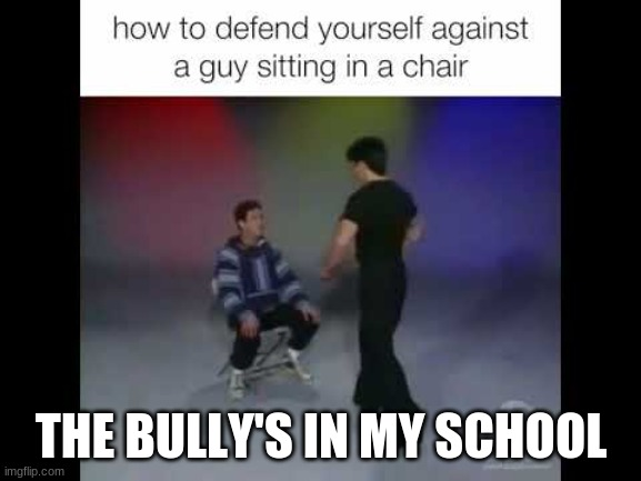 Person in a chair |  THE BULLY'S IN MY SCHOOL | image tagged in funny,memes,lmao,lol,too funny | made w/ Imgflip meme maker
