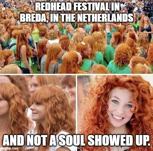 Fancy That |  REDHEAD FESTIVAL IN BREDA, IN THE NETHERLANDS; AND NOT A SOUL SHOWED UP. | image tagged in redheads,souls,netherlands,funny meme,blatantmemestealingisfun | made w/ Imgflip meme maker