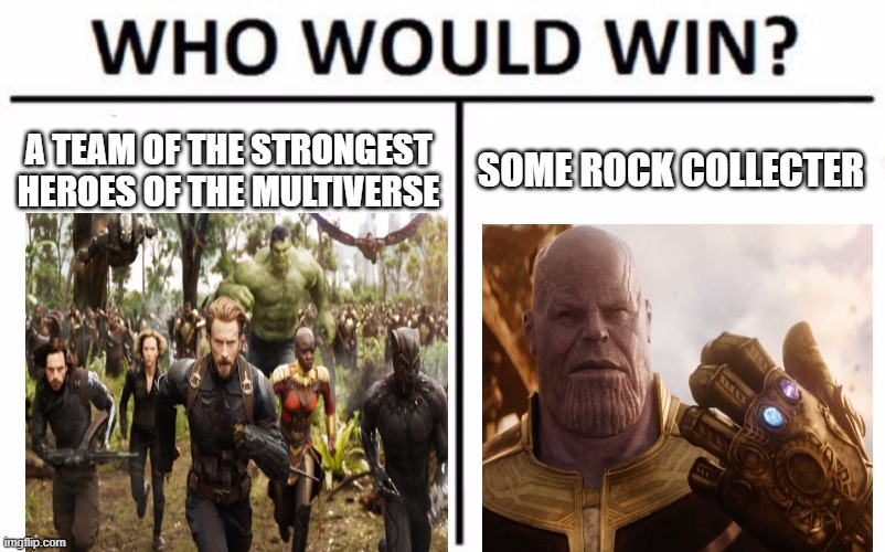 Who Would Win? Meme |  A TEAM OF THE STRONGEST HEROES OF THE MULTIVERSE; SOME ROCK COLLECTER | image tagged in memes,who would win,marvel,infinity war,avengers endgame | made w/ Imgflip meme maker
