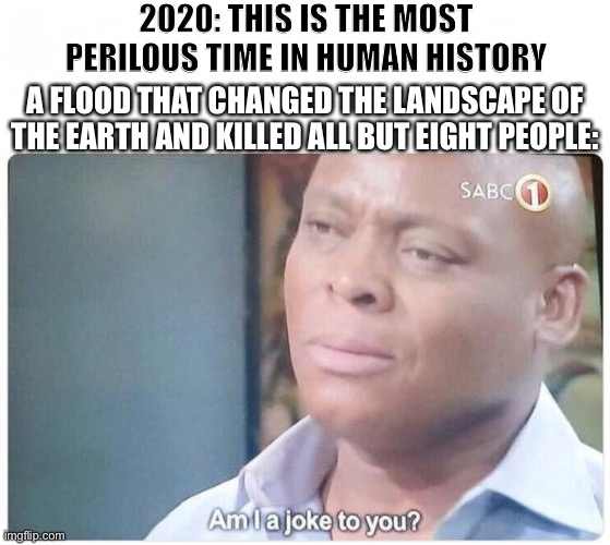 The Days Of Noe |  2020: THIS IS THE MOST PERILOUS TIME IN HUMAN HISTORY; A FLOOD THAT CHANGED THE LANDSCAPE OF THE EARTH AND KILLED ALL BUT EIGHT PEOPLE: | image tagged in am i a joke to you,noah,bible,flood,2020,hard times | made w/ Imgflip meme maker