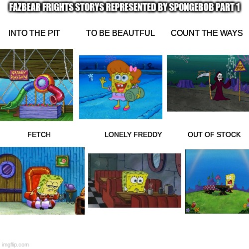 Fazbear frights repsented by spongebob part 1 |  FAZBEAR FRIGHTS STORYS REPRESENTED BY SPONGEBOB PART 1; INTO THE PIT             TO BE BEAUTFUL        COUNT THE WAYS; FETCH                           LONELY FREDDY             OUT OF STOCK | image tagged in memes,blank transparent square | made w/ Imgflip meme maker