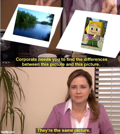 They're the same river | image tagged in memes,they're the same picture,minecraft mini series,river | made w/ Imgflip meme maker