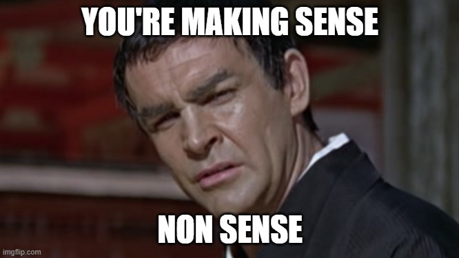 YOU'RE MAKING SENSE; NON SENSE | image tagged in james bond,nonsense | made w/ Imgflip meme maker