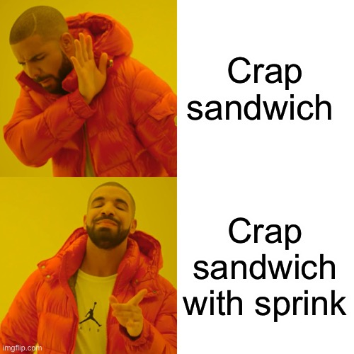 Drake Hotline Bling Meme | Crap sandwich Crap sandwich with sprinkles | image tagged in memes,drake hotline bling | made w/ Imgflip meme maker