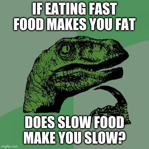 Thats how it works |  IF EATING FAST FOOD MAKES YOU FAT; DOES SLOW FOOD MAKE YOU SLOW? | image tagged in memes,philosoraptor | made w/ Imgflip meme maker