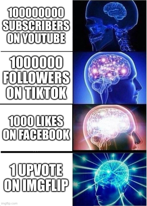 Social Media Life |  100000000 SUBSCRIBERS ON YOUTUBE; 1000000 FOLLOWERS ON TIKTOK; 1000 LIKES ON FACEBOOK; 1 UPVOTE ON IMGFLIP | image tagged in memes,expanding brain | made w/ Imgflip meme maker