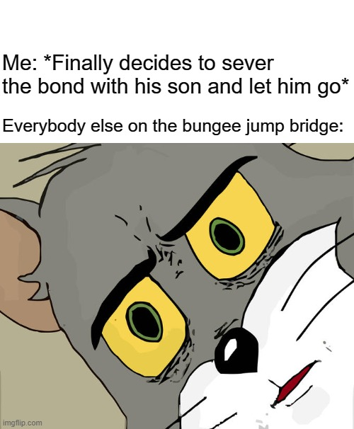 Go son, go... |  Me: *Finally decides to sever the bond with his son and let him go*; Everybody else on the bungee jump bridge: | image tagged in memes,unsettled tom | made w/ Imgflip meme maker