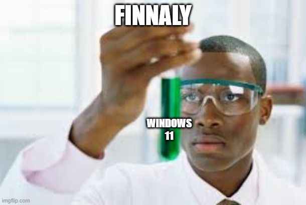 FINALLY |  FINNALY; WINDOWS 11 | image tagged in finally,windows 10,microsoft,computer | made w/ Imgflip meme maker