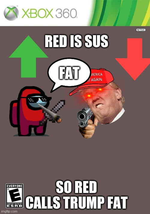 EEEEEEEEEEEE |  RED IS SUS; FAT; SO RED CALLS TRUMP FAT | image tagged in xbox 360 cartridge blank | made w/ Imgflip meme maker