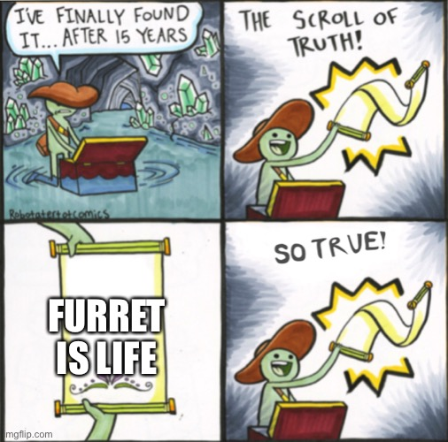 Furret for life |  FURRET IS LIFE | image tagged in the real scroll of truth | made w/ Imgflip meme maker