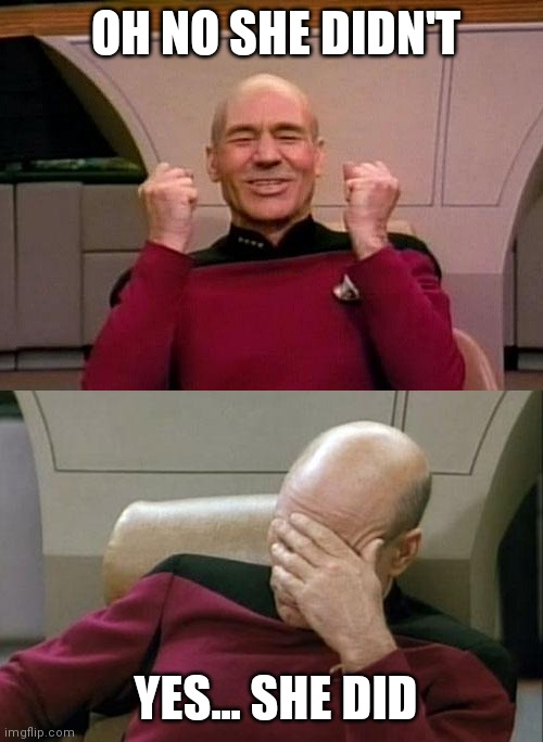 Picard - YES - SMH |  OH NO SHE DIDN'T; YES... SHE DID | image tagged in picard - yes - smh,memes,funny,oh no | made w/ Imgflip meme maker