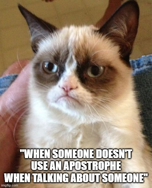 "Grumpy Cat Meme |  ""WHEN SOMEONE DOESN'T USE AN APOSTROPHE WHEN TALKING ABOUT SOMEONE"" 