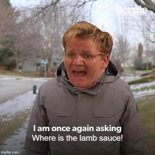 Lamb sauce |  Where is the lamb sauce! | image tagged in memes,bernie i am once again asking for your support,angry chef gordon ramsay,funny memes | made w/ Imgflip meme maker