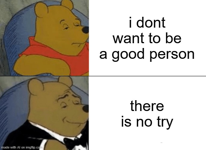 same |  i dont want to be a good person; there is no try | image tagged in memes,tuxedo winnie the pooh | made w/ Imgflip meme maker
