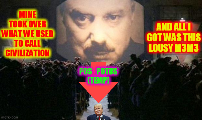 Big brother  | MINE TOOK OVER WHAT WE USED TO CALL CIVILIZATION AND ALL I GOT WAS THIS LOUSY M3M3 POS_POTUS (TEMP) | image tagged in big brother | made w/ Imgflip meme maker