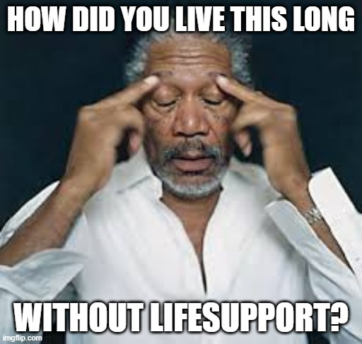 Braindead |  HOW DID YOU LIVE THIS LONG; WITHOUT LIFESUPPORT? | image tagged in morgan freeman | made w/ Imgflip meme maker