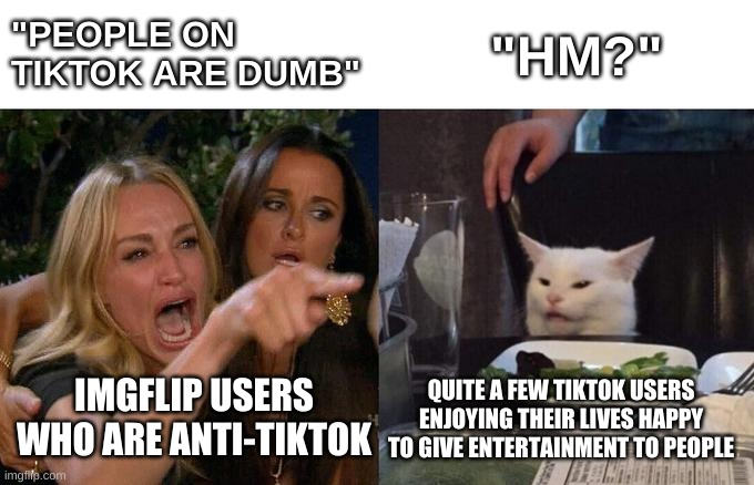 "Woman Yelling At Cat Meme |  ""PEOPLE ON TIKTOK ARE DUMB""; ""HM?""; IMGFLIP USERS WHO ARE ANTI-TIKTOK; QUITE A FEW TIKTOK USERS ENJOYING THEIR LIVES HAPPY TO GIVE ENTERTAINMENT TO PEOPLE 