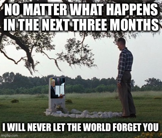 Dead Meme Walking |  NO MATTER WHAT HAPPENS IN THE NEXT THREE MONTHS; I WILL NEVER LET THE WORLD FORGET YOU | image tagged in memes,funny,dead memes,dead memes week,dead meme | made w/ Imgflip meme maker