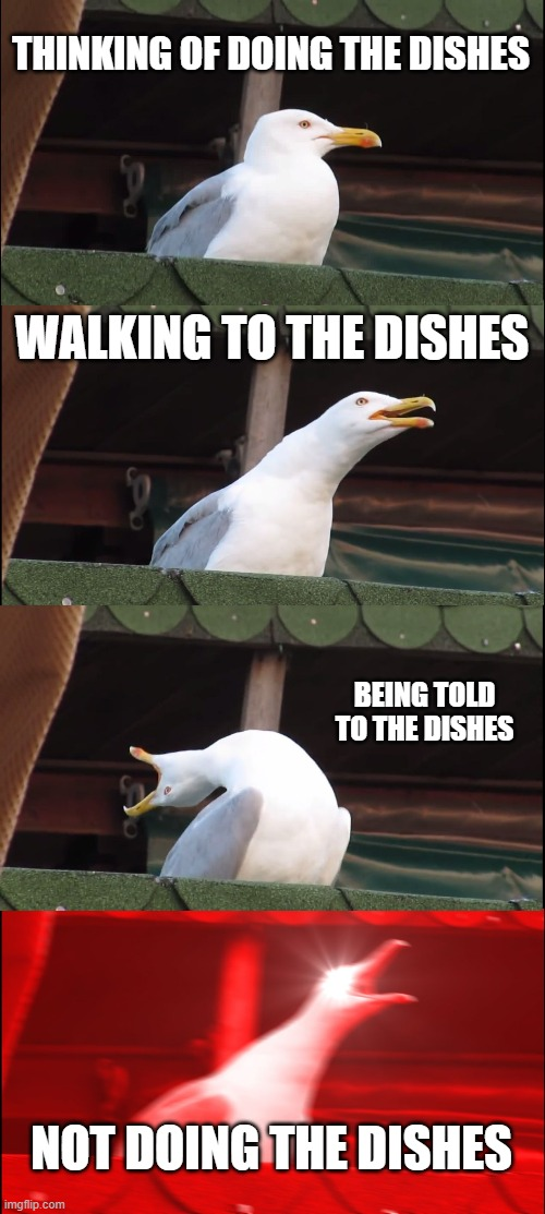Dishes be like: |  THINKING OF DOING THE DISHES; WALKING TO THE DISHES; BEING TOLD TO THE DISHES; NOT DOING THE DISHES | image tagged in memes,inhaling seagull | made w/ Imgflip meme maker