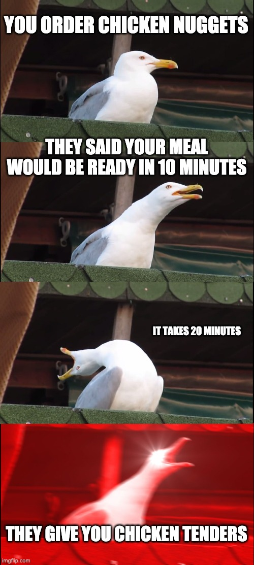 Inhaling Seagull Meme |  YOU ORDER CHICKEN NUGGETS; THEY SAID YOUR MEAL WOULD BE READY IN 10 MINUTES; IT TAKES 20 MINUTES; THEY GIVE YOU CHICKEN TENDERS | image tagged in memes,inhaling seagull | made w/ Imgflip meme maker