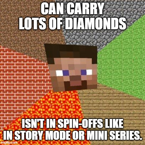Minecraft Steve |  CAN CARRY LOTS OF DIAMONDS; ISN'T IN SPIN-OFFS LIKE IN STORY MODE OR MINI SERIES. | image tagged in minecraft steve,minecraft,minecraft story mode,minecraft mini series | made w/ Imgflip meme maker