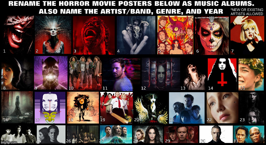 image tagged in horror movie,music,artists,movies,bands,posters | made w/ Imgflip meme maker