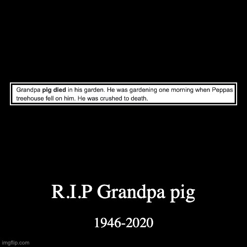 He was a good man | R.I.P Grandpa pig | 1946-2020 | image tagged in funny,demotivationals | made w/ Imgflip demotivational maker