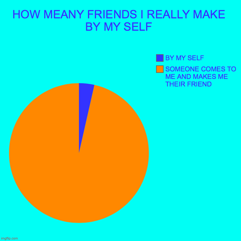 HOW MEANY FRIENDS I REALLY MAKE BY MY SELF | SOMEONE COMES TO ME AND MAKES ME THEIR FRIEND, BY MY SELF | image tagged in charts,pie charts | made w/ Imgflip chart maker